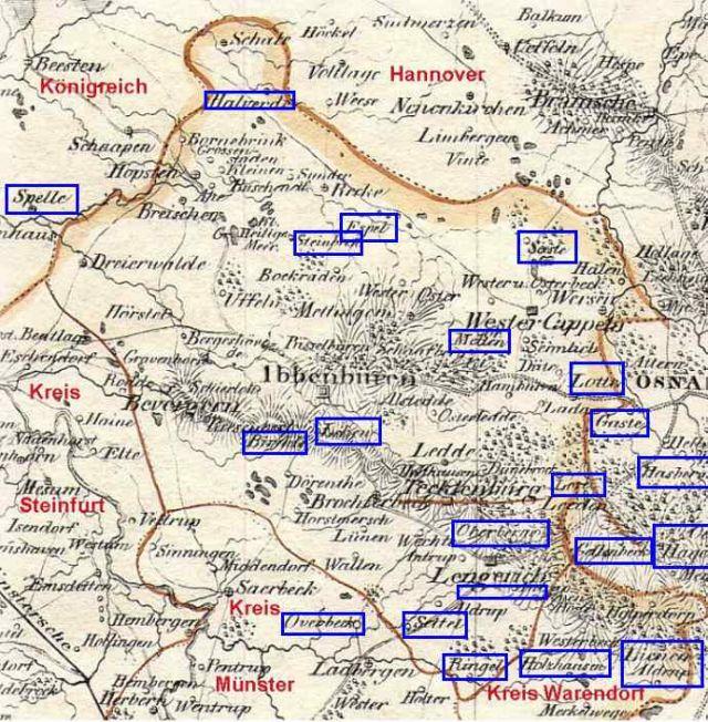Verteilung der Höfe. Nach: Charte Reg.-Bez. Münster 1820